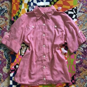 Vintage 60's red and white gingham western shirt
